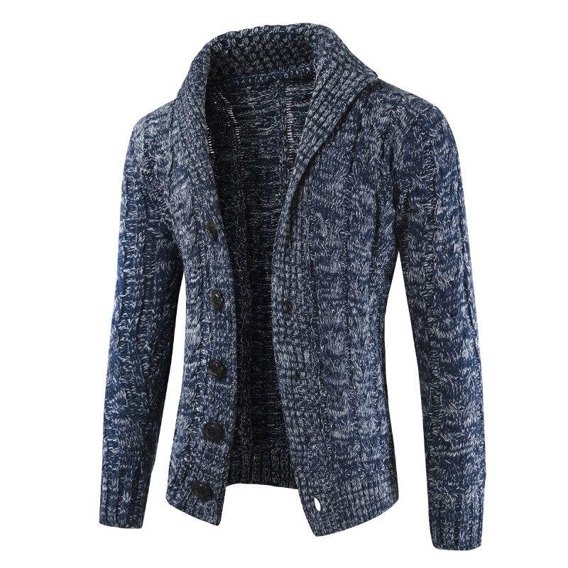 [해외]남자 카디건 스웨터 2019 가을, 겨울 새로운 남성 긴팔 스웨터 옷깃 카디건 버튼 니트 스웨터 코트 조수 따뜻한/남자 카디건 스웨터 2019 가을, 겨울 새로운 남성 긴팔 스웨터 옷깃 카디건 버튼 니트 스웨터 코트 조수 따뜻한