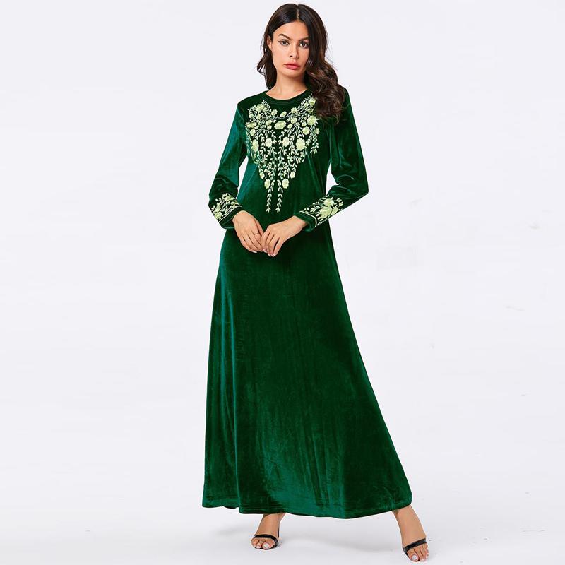 [해외]Vestidos arabes 벨벳 abaya 터키 이슬람 아랍어 긴 이슬람 드레스 caftan 두바이 kaftan tesettur elbise 로브 longue hijab 드레스/Vestidos arabes 벨벳 abaya 터키 이슬람 아랍어