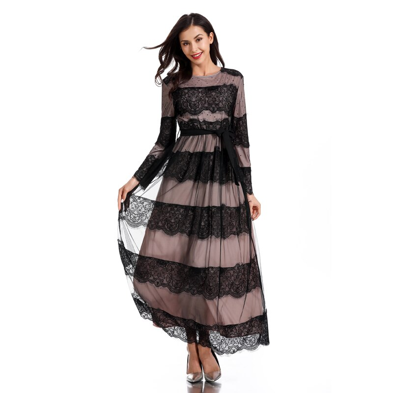 [해외]레이스 vestidos musulmanes abaya 가운 femme 두바이 kaftan 이슬람 아랍어 hijab 이슬람 드레스 여성 라마단 caftan marocain 드레스/레이스 vestidos musulmanes abaya 가운 femm