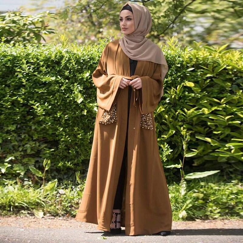 [해외]진주 abaya 터키어 기모노 hijab 이슬람 드레스 이슬람 의류 여성용 abayas 로브 두바이 caftan marocain kaftan djelaba femme/진주 abaya 터키어 기모노 hijab 이슬람 드레스 이슬람 의류 여성용 a