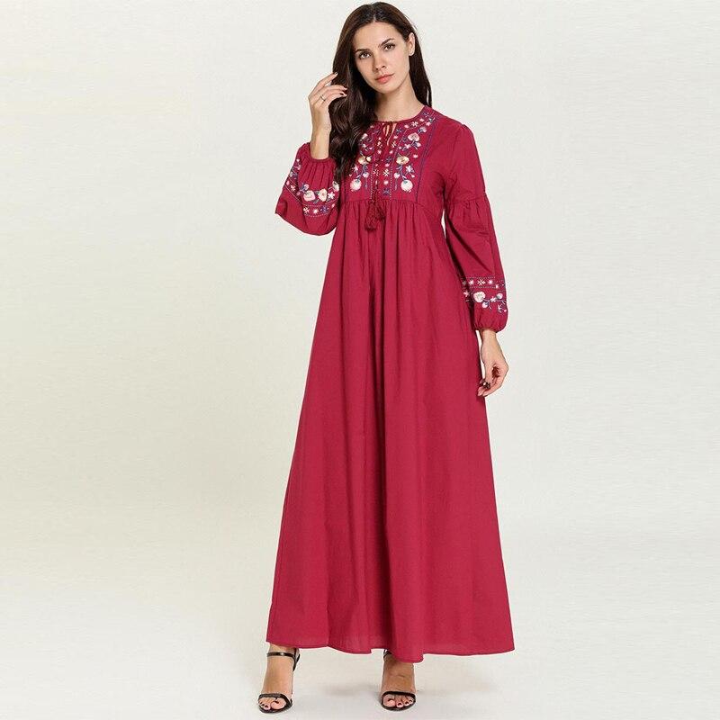 [해외]Vestidos kaftan 레드 abaya 터키 두바이 caftan 아랍어 이슬람 hijab 드레스 여성 오만 로브 musulmane longue elbise 이슬람 의류/Vestidos kaftan 레드 abaya 터키 두바이 caftan