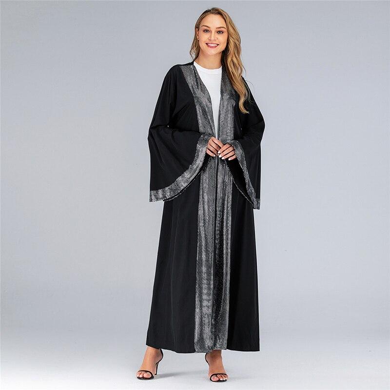 [해외]블랙 오픈 스팽글 abaya 기모노 이슬람 hijab 드레스 abayas 여성 모로코 kaftan 두바이 오만 caftan 터키 이슬람 의류/블랙 오픈 스팽글 abaya 기모노 이슬람 hijab 드레스 abayas 여성 모로코 kaftan 두바