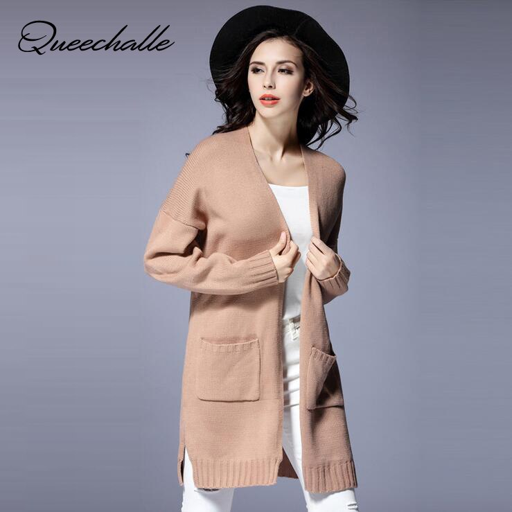 [해외]Queechalle Apricot Knitted Oversized Sweaters 2018 Autumn Plus Size Cardigans Women Large Size Sweater Coat  XL XXL 3XL 4XL 5XL/Queechalle Apricot