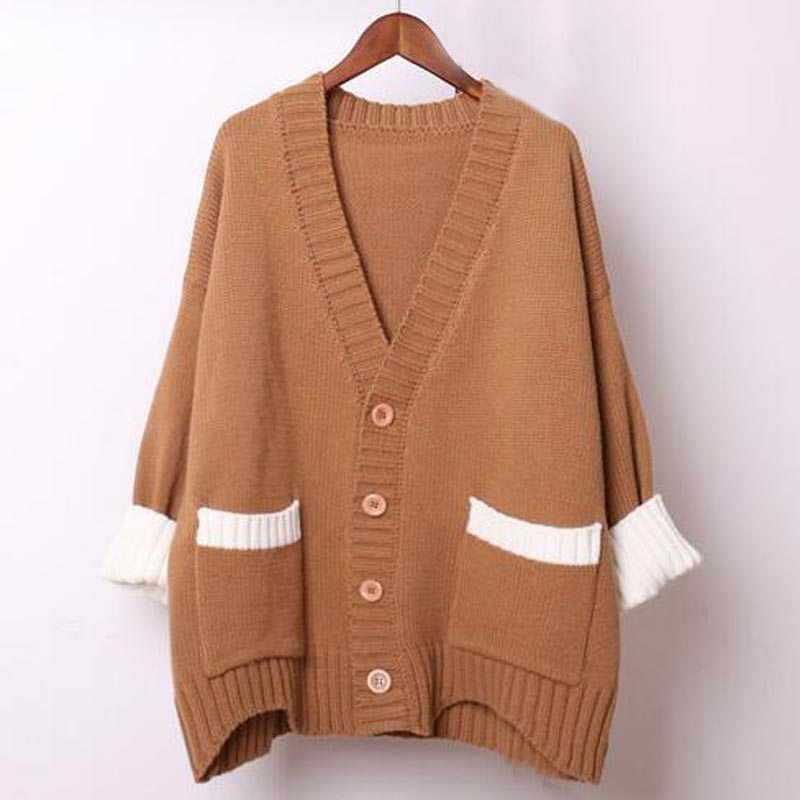 [해외]Women Spring Autumn winter new Thick cardigans Long Style Thick Thread Knitted Soft Cotton Loose Weave  knitting Sweater QH0347/Women Spring Autum
