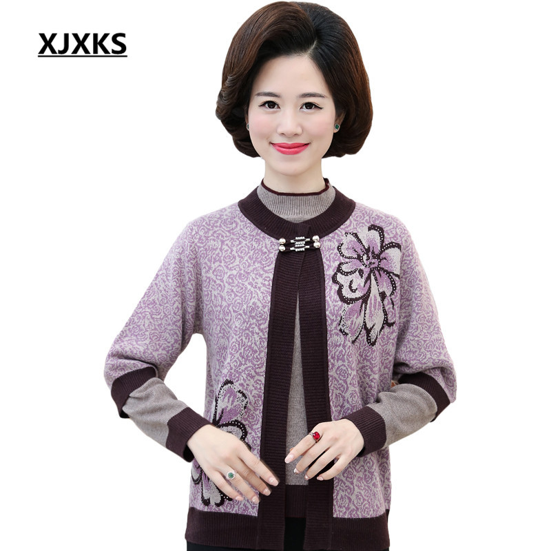 [해외]XJXKS Women Sweater Two Piece Set New Arrival  Knitted Single Button Fashion Women Cardigan Print Flower 2108/XJXKS Women Sweater Two Piece Set Ne