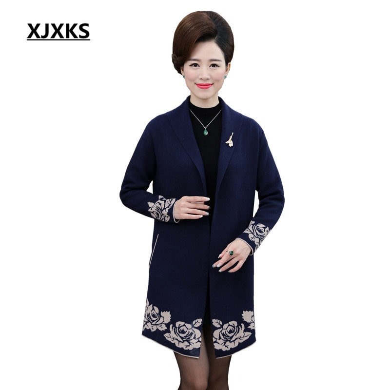 [해외]XJXKS Women Winter Coat  Long Sleeve Long Cardigan Print Female Sweater Turn-down Collar Women Cardigans 58007/XJXKS Women Winter Coat  Long Sleev