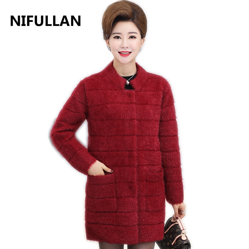 [해외]NIFULLAN Thick Knitted Cardigan Coat Fall Winter New Fashion Mother Plus Size Long Tops Women Pocket Knitwear Warm Mohair Jumper/NIFULLAN Thick Kn