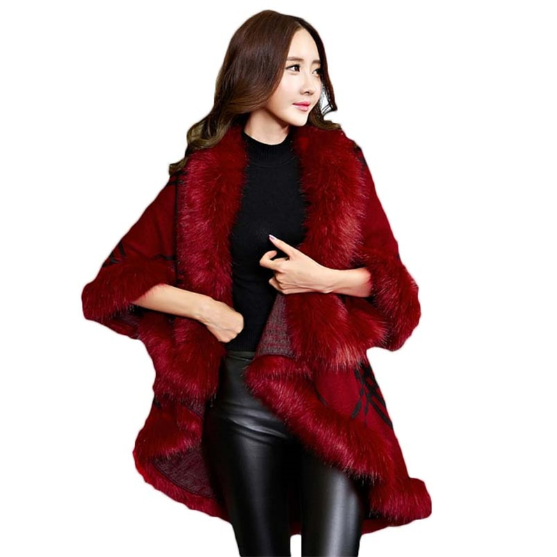 [해외]2017 New Korean Autumn Winter Faux Fox Fur Sweater Cashmere Coat Women Loose Long Plaid Knitted Cardigan Cloak Shawl Poncho L950/2017 New Korean A