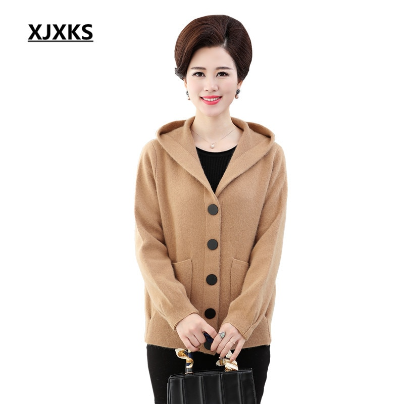 [해외]XJXKS 2018 New Spring Autumn Knitted Sweater Cardigan Women winter Jacket Loose Big Size Crocheted Sweaters Coat/XJXKS 2018 New Spring Autumn Knit