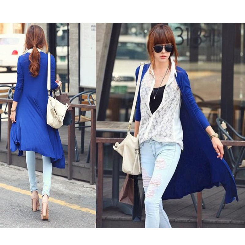 [해외]Autumn Long Wraps Outerwear Casual Women Long Sleeve Knitted Cardigan Fashion thin Knitwear Sweater Coat  6 Colors blue IU661641/Autumn Long Wraps