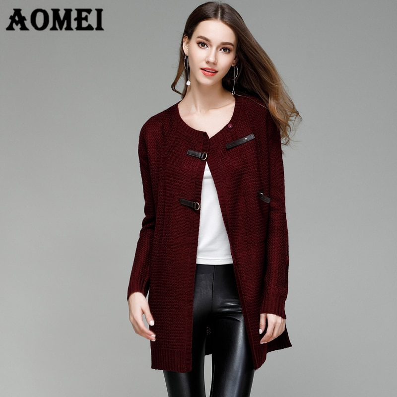 [해외]Autumn Winter Sweaters Cardigans for Women 2019 Knitwear Fashion Leather Buttons Solid Slim Female Long New Cardigan /Autumn Winter Sweaters Cardi