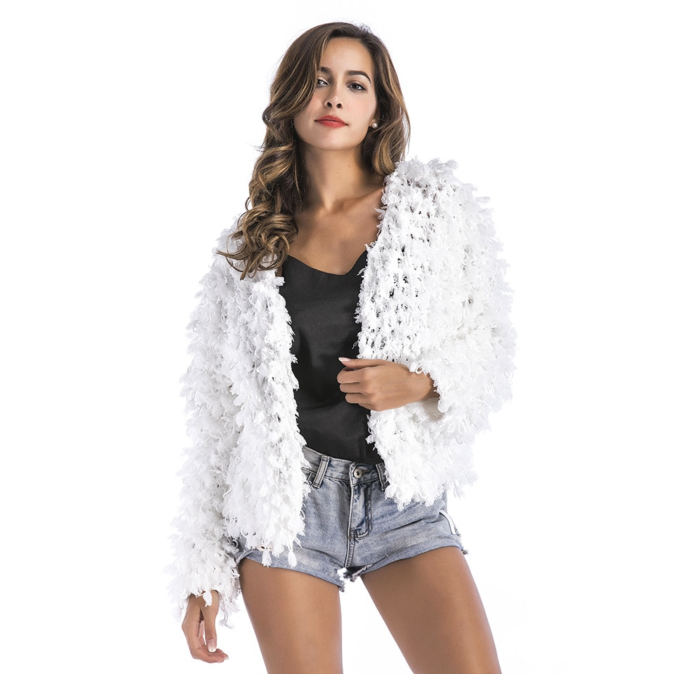 [해외]Autumn 2018 Women White Sexy Knitting Cardigan Sweater Female Short Style Tassel Hollow Out Open Stitch For Christmas Party /Autumn 2018 Women Whi