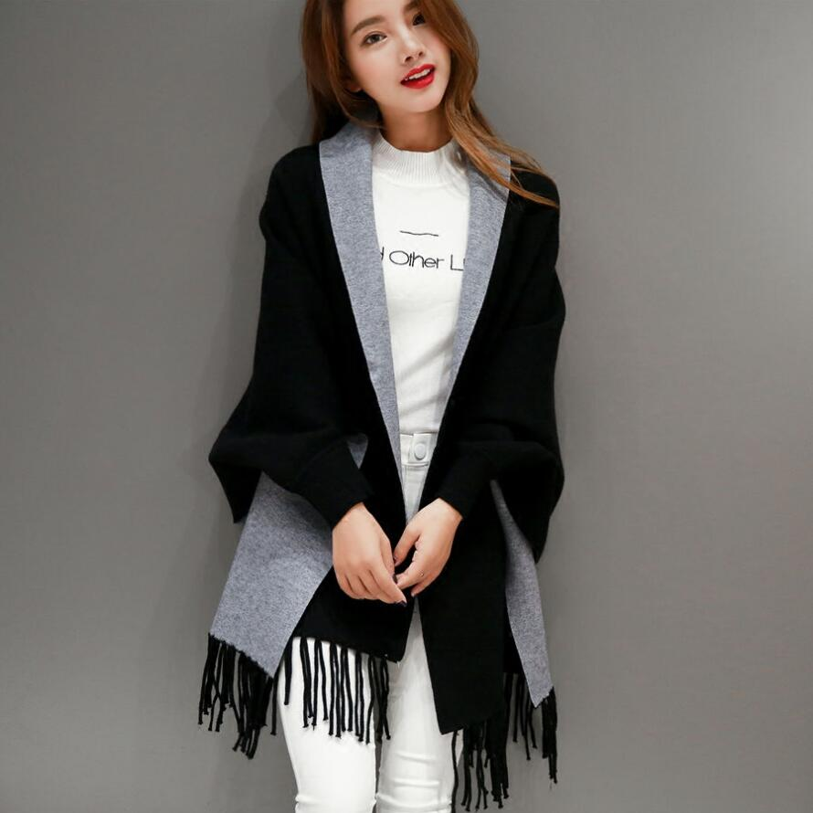[해외]Autumn Winter Fashion Lady Tassel Knitted Shawl Sweater Women Solid Tassel Batwing Sleeve Poncho Cardigan wrap swing/Autumn Winter Fashion Lady Ta