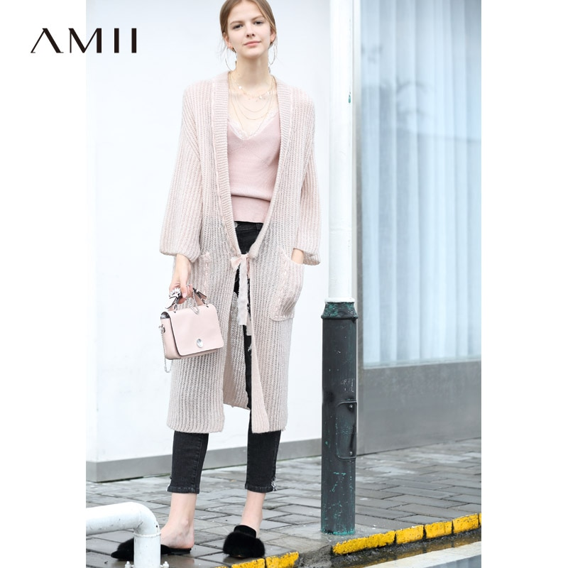 [해외]Amii Minimalist Women 2019 Autumn Wool Cardigan Original Design Loose Belt Long Female Knitted Cardigan Sweaters/Amii Minimalist Women 2019 Autumn