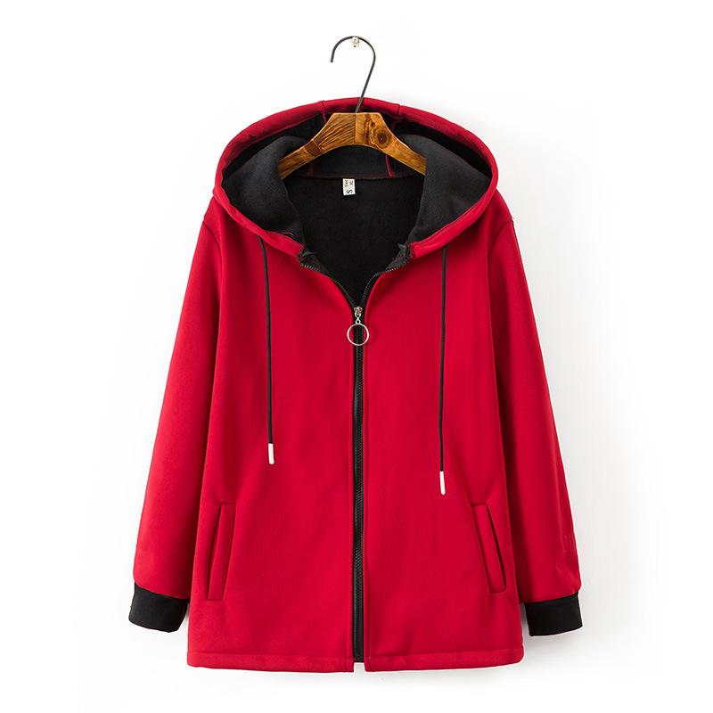 [해외]Women hoodie 2019 여성 캐주얼 겨울 따뜻한 셰르파 라이닝 지퍼 후드 티셔츠 자켓 코트 플러스 사이즈 4xl 블랙 레드/Women hoodie 2019 여성 캐주얼 겨울 따뜻한 셰르파 라이닝 지퍼 후드 티셔츠 자켓 코트 플러스 사이