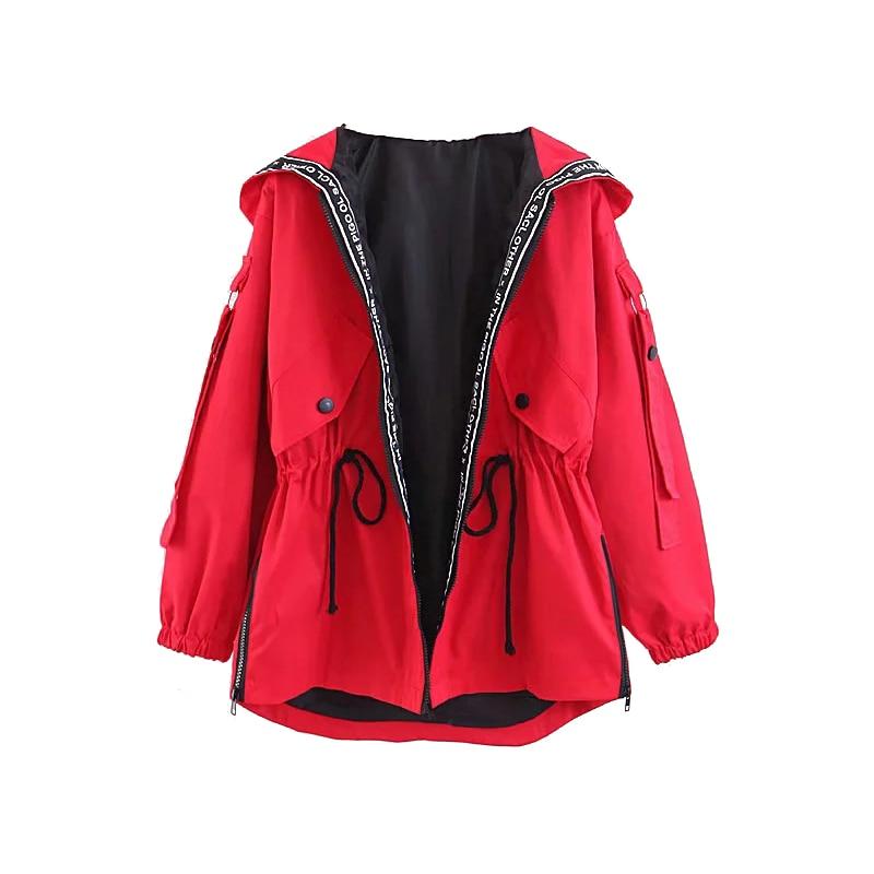 [해외]Oversize Girls Hooded Jackets 2019 봄-가을 세련된 패치 워크 코트 Women-s Loose Bomber Jacket 스트리트웨어 복장 플러스 사이즈/Oversize Girls Hooded Jackets 2019 봄-