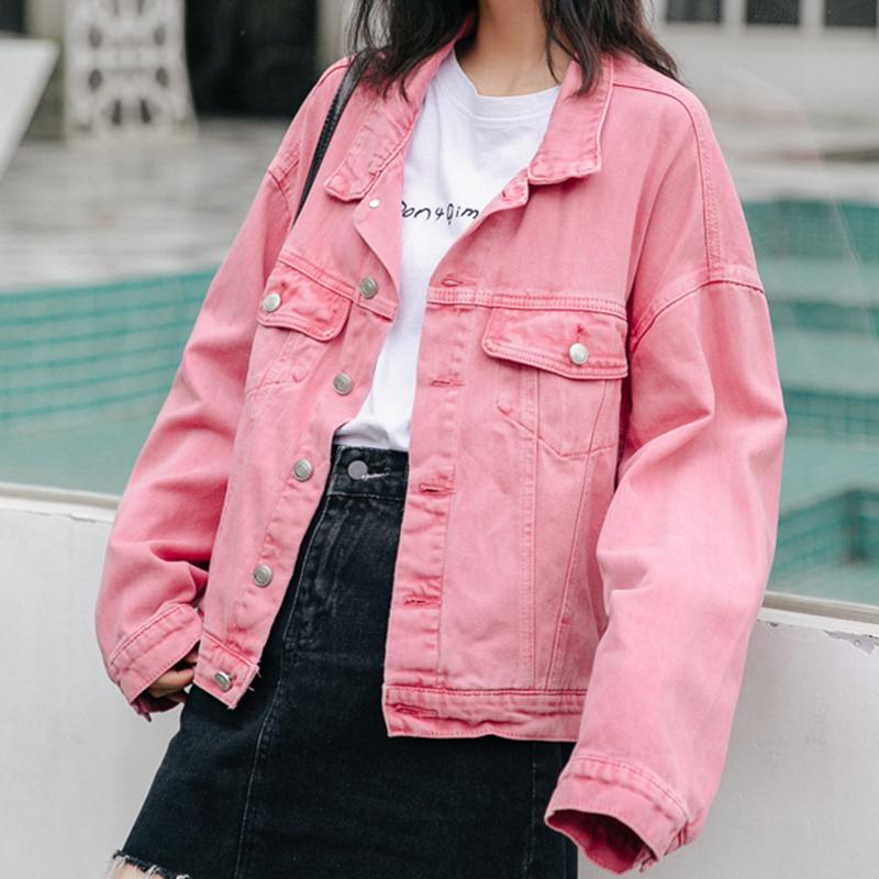 [해외]Flectit 캔디 컬러 캐주얼 데님 자켓 여성용 오버 사이즈 핑크 청바지 자켓 veste femme/Flectit 캔디 컬러 캐주얼 데님 자켓 여성용 오버 사이즈 핑크 청바지 자켓 veste femme
