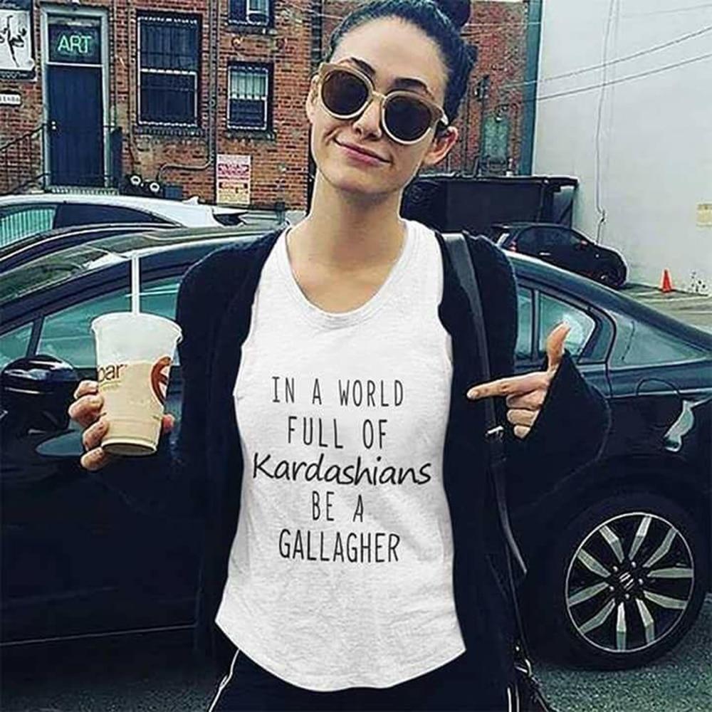 [해외]영감을 얻은 여성 t-셔츠 세계에서 전체 kardashians gallagher 따옴표 인쇄 된 티 여름 캐주얼 화이트 탑스/영감을 얻은 여성 t-셔츠 세계에서 전체 kardashians gallagher 따옴표 인쇄 된 티 여름 캐주얼 화이트