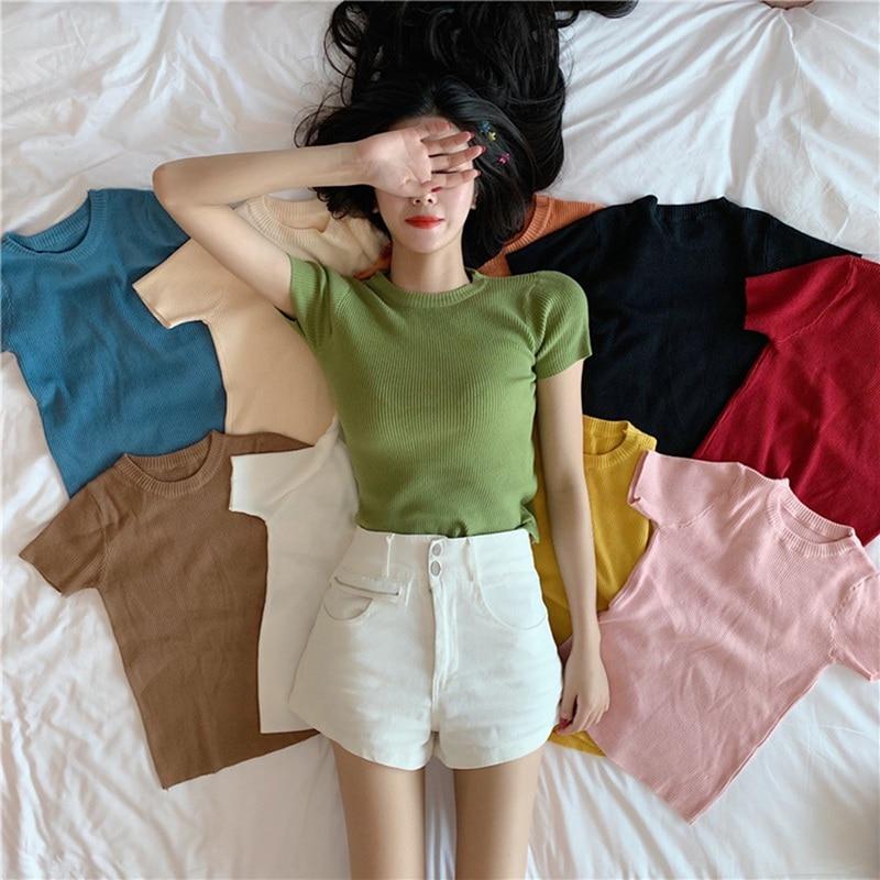 [해외]O-목 슬림 짧은 얇은 단색 야생 반팔 니트 바닥 셔츠 여성의 새로운 한국어 버전/O-목 슬림 짧은 얇은 단색 야생 반팔 니트 바닥 셔츠 여성의 새로운 한국어 버전