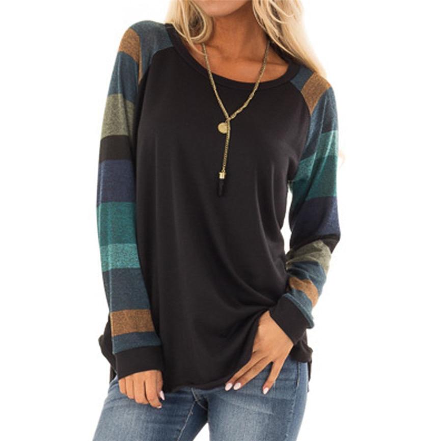[해외]2019 여성 t-셔츠 여성 스트라이프 패치 워크 캐주얼 탑 셔츠 티셔츠 feminino 긴 소매 o-넥 가을 옷 chemise femme/2019 여성 t-셔츠 여성 스트라이프 패치 워크 캐주얼 탑 셔츠 티셔츠 feminino 긴 소매 o-넥