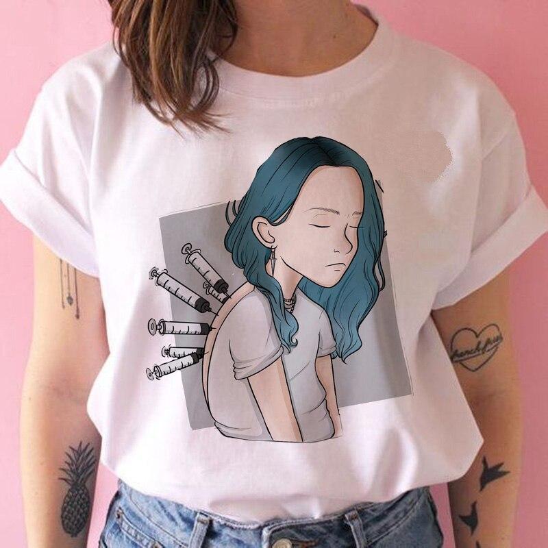 [해외]Billie eilish funny t shirt 여성 하라주쿠 bad guy 그래픽 tshirt streetwear kawaii 90s 힙합 t 셔츠 반소매 캐주얼/Billie eilish funny t shirt 여성 하라주쿠 bad guy
