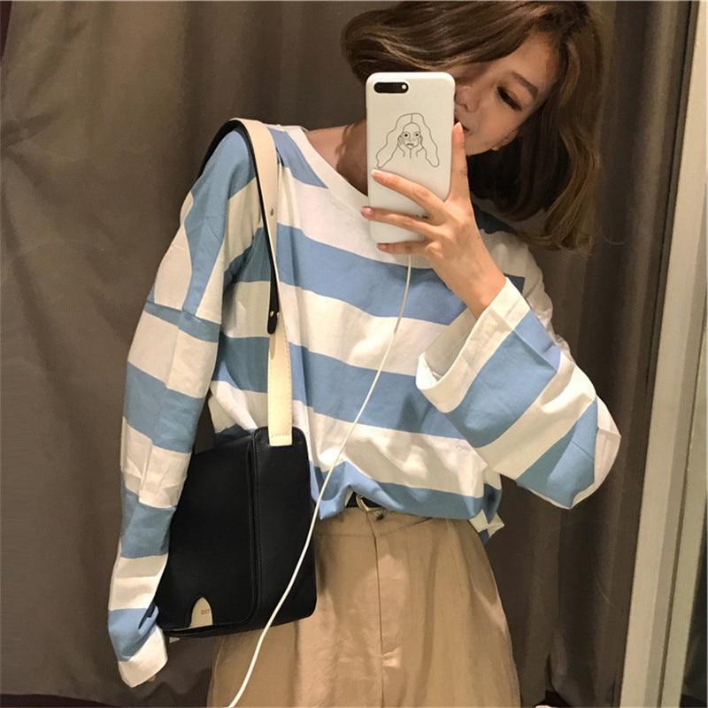 [해외]하라주쿠 줄무늬 셔츠 streetwear 여성 의류 2019 한국어 스타일 긴 소매 보그 camisa mujer 가을 티 셔츠 femme 플러스 크기/하라주쿠 줄무늬 셔츠 streetwear 여성 의류 2019 한국어 스타일 긴 소매 보그 ca