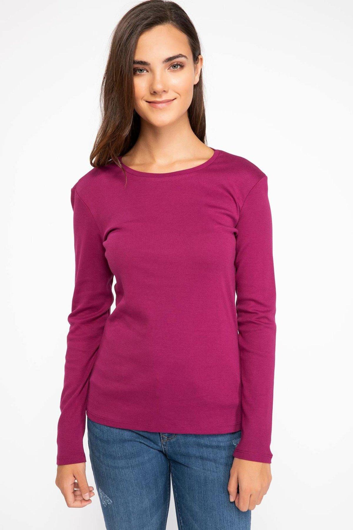 [해외]Defacto 여자 긴 소매 티셔츠 여성 꽉 솔리드 컬러 탑 티셔츠 캐주얼 o-넥 탑 천으로 Autumn-G5367AZ18AU/Defacto 여자 긴 소매 티셔츠 여성 꽉 솔리드 컬러 탑 티셔츠 캐주얼 o-넥 탑 천으로 Autumn-G5367A