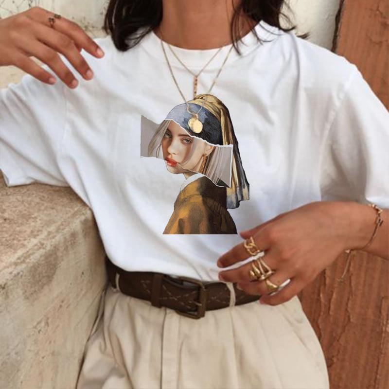 머큐리 패션 프린트 t 셔츠 스푸핑 의류 반소매 하라주쿠 New top 캐주얼 티 셔츠 여성 의류 Kawaii vegan tshirt