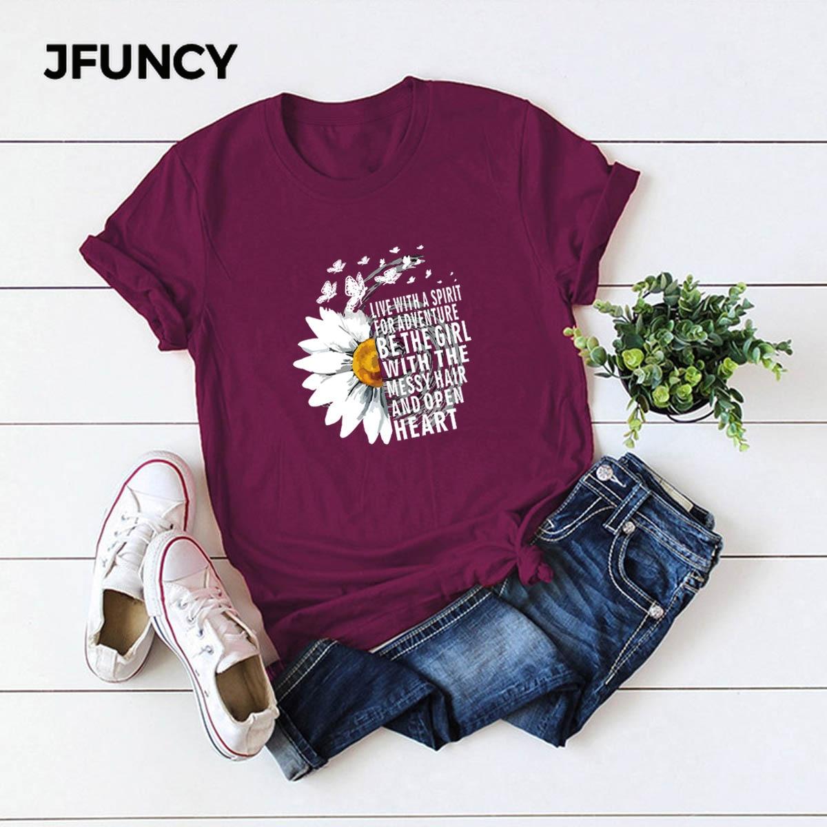 JFUNCY 2020 새 여름 코튼 여성 티셔츠 크리 에이 티브 국화 영감 편지 인쇄 T 셔츠 플러스 사이즈 Mujer Tee Tops/JFUNCY 2020 새 여름 코튼 여성 티셔츠 크리 에이 티브 국화 영감 편지 인쇄 T 셔츠 플러스 사이즈