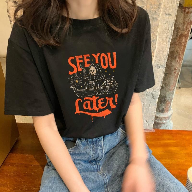 캐주얼 반소매 스푸핑 티셔츠 하라주쿠 Ulzzang 느슨한 여성 티셔츠 고딕 dropshipping streetwear 탑스 펑크 프린트 bf