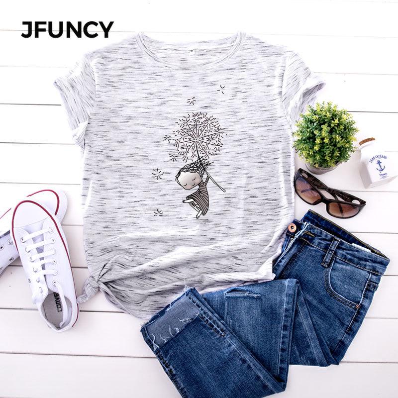 JFUNCY 플러스 크기 5XL 여성 T 셔츠 패션 인쇄 짧은 소매 여름 코 튼 T-셔츠 여성 탑스 대형 여성 캐주얼 Tshirt/JFUNCY 플러스 크기 5XL 여성 T 셔츠 패션 인쇄 짧은 소매 여름 코 튼 T-셔츠 여성 탑스 대형 여성 캐
