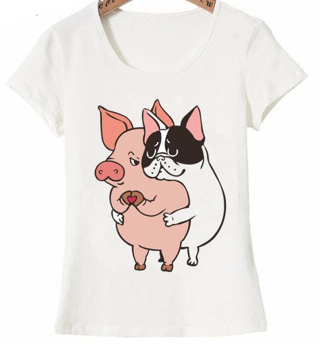 2019 nouveau ete femmes 티셔츠 ami pas nourriture dessin anime 티셔츠 mignon bouledogue francais calin cochon conception decon/2019 nouveau et