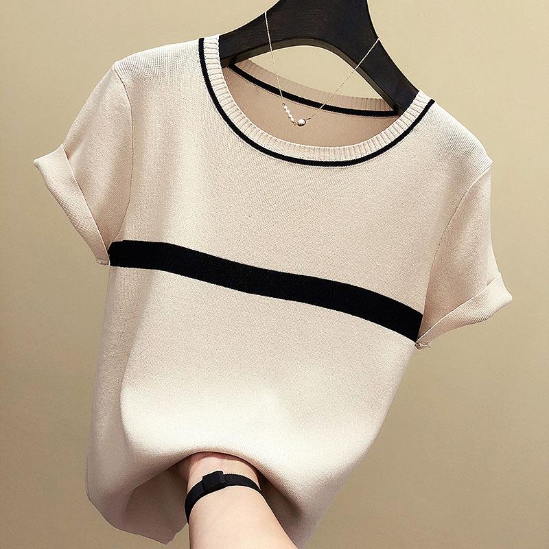Shintimes 얇은 니트 T 셔츠 여성 의류 2020 여름 여성 짧은 소매 티셔츠 스트 라이프 캐주얼 티셔츠 여성 Tshirt Femme/Shintimes 얇은 니트 T 셔츠 여성 의류 2020 여름 여성 짧은 소매 티셔츠 스트 라이프 캐주