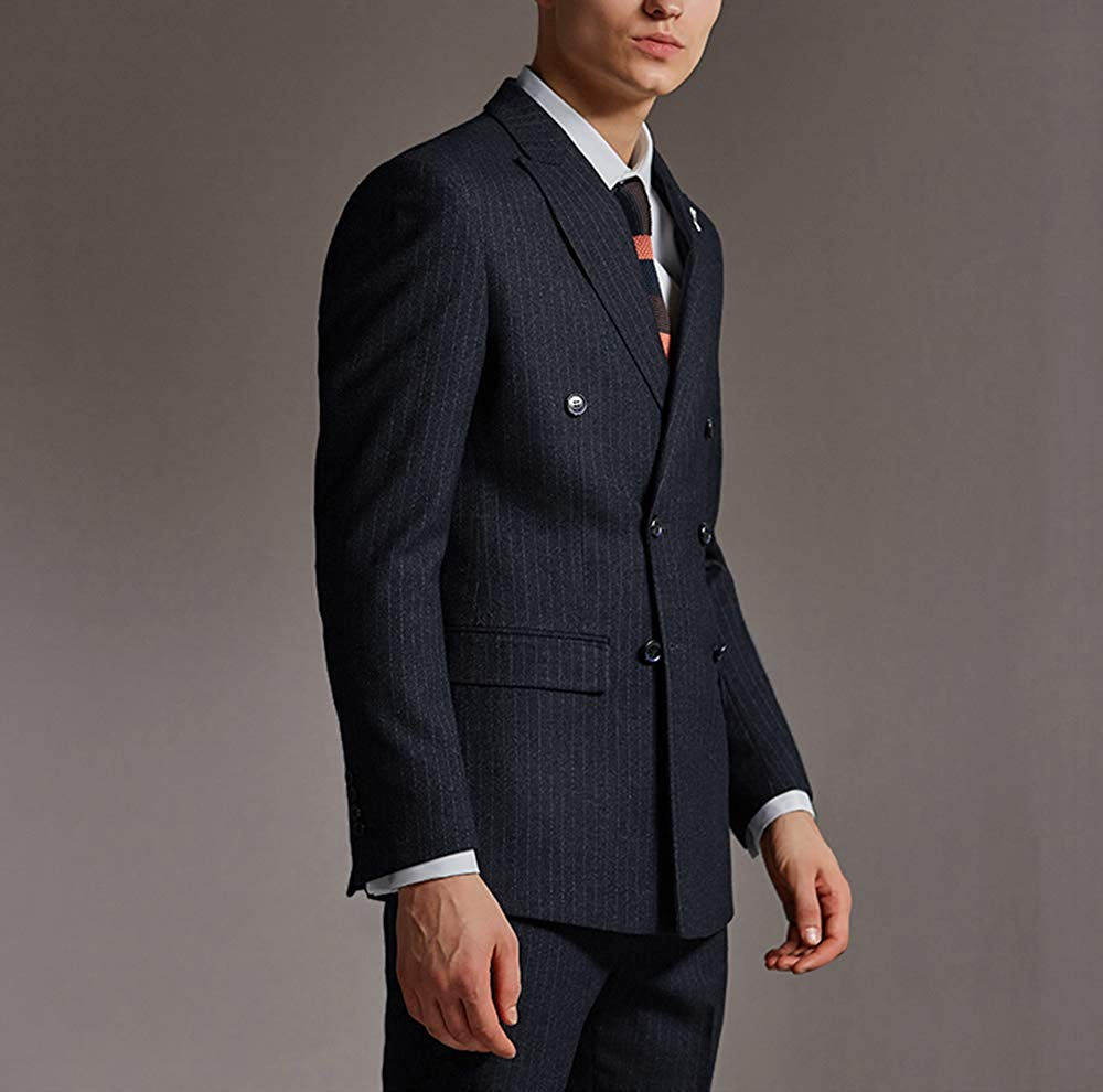Solovedress (블레이저 + 바지 + 조끼) Mens Stripes Suit 트위드 울 블렌드 핀 스트라이프 3 Pieces Peaked Lapel Groomsmen Tuxedos for Wedding
